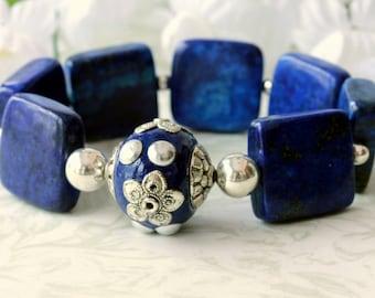 Lapis Lazuli Bracelet, Gemstone Bracelet, Cuff Bracelet, Beaded Bracelet, Stretch Bracelet, Bridal Jewelry, Wedding, Modern, Easter Bracelet