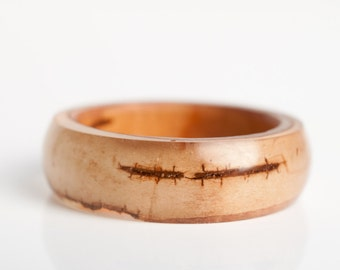 size 10 round resin eco resin ring | real birch bark inclusion