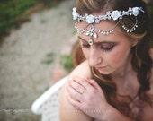 PURITY Bridal Statement Rhinestone Flower Headpiece Tieback Crown Halo Flower Girl Bride Photo Prop Quinceanera