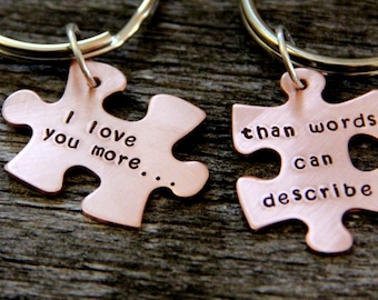 Gift For Husband / Puzzle Piece / His One Her Only / Anniversary Gift / Hand Stamped Personalized / Valentines Gift Wife/ Wedding