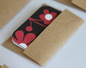 BUY 3 get 8 FREE- Mini Cards n Envelopes - Set of 6 - Recycled Kraft - Black with Deep Red Flowers -Floral Pattern
