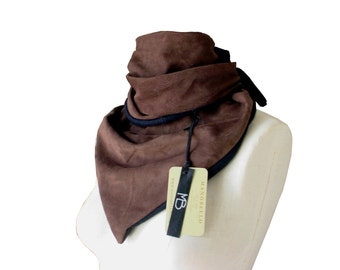 Leather Scarf Minimalist leather Suede scarf ,Dark brown Leather scarf , Triangle scarf , Warm fashion scarf , Men , Women
