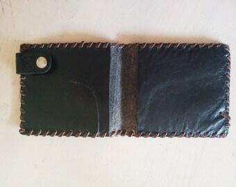 Vintage black leather wallet. Man women unisex