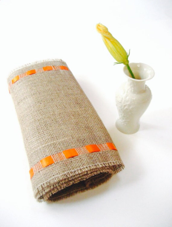 Burlap Table Runner with Orange Ribbon -  New Fresh Decor - Spring Table Accessory