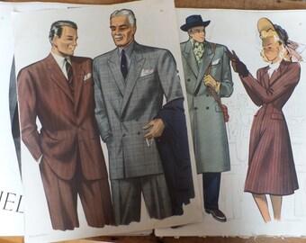 1947 couture fashion illustrations album France Mode Paris