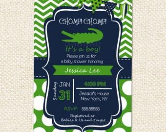Crocodile Baby Shower Invitations,  Alligator baby shower invitations, Birthday invitations