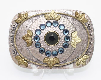 Vintage Belt Buckle Silver Gold and Rhinestones on Textured Metal