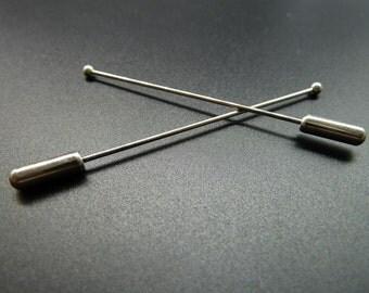 10pcs 1x63mm  White K (Rhodium Color) Brass Needle  Brooch  c3617