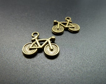 30pcs 14x15mm Antique Bronze Mini Bike Charm Pendant c3548