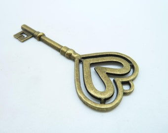 5pcs 31x70mm Antique Bronze  Filigree Huge Heart  Key Charm Pendant c3865