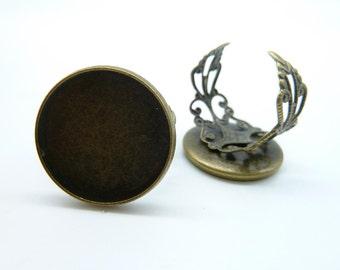 10pcs 20mm Antique Bronze Brass Cameo Cabochon Filigree Base Setting Rings C4232