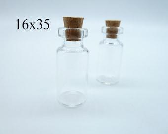 20pcs 16x35x7mm Clear Glass Tiny Wishing Drifting Bottle Vials Pendants With Corks/Free EyeHook Charm Pendant c4445