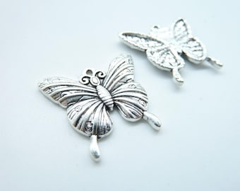10pcs 23x24mm Antique Silver Lovely Butterfly Charm Pendant c4576