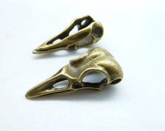 5pcs 10x15x32mm Antique Bronze  Vulture Bird Skull Head Pendant c7523