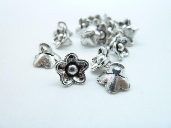 50pcs 6x8mm Antique Silver  Mini Flower Charm Pendant C4360
