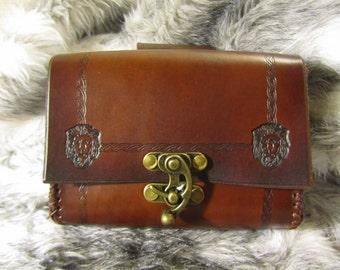 In-Stock Leather Belt Bag Medieval, Lion  Head Design, Belt Pouch Medium, Leather Bag, LARP, SCA, Costume, Ren Faire, Brown