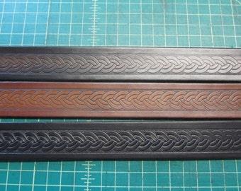 Customizable 1 1/2 inch, Braid Design Leather Ring Belt, Medieval, Renaissance, SCA, Fantasy