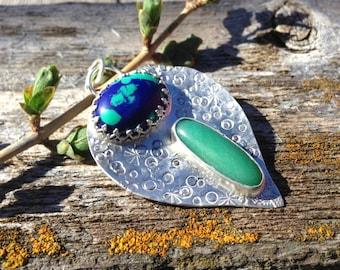 Sale Onyx and Malachite Azurite sterling Pendant. Moroccan jewelry bohemian jewelry, metaphysical jewelry, healing jewelry