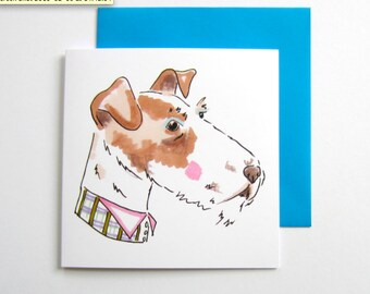 Fox terrier With Checked Neckwear. Fox terrier. Fox Terrier Dog Lover. Blank. 5.5 Inch. Square. Greetings Card