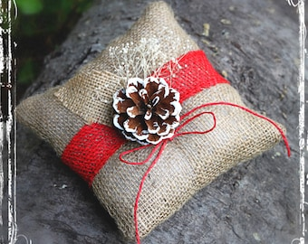 Rustic Holiday Ring Bearer Pillow - Christmas Weddings - Winter Wedding - Country Charm - Simply Elegant - Beige Red Natural Pinecone Burlap