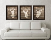 Antler, Stag, Deer Print Set of 3 (Wood Texture) - Minimalist Art -Rustic Poster Silhouette Art - Print - Wall Decor, Home Decor, Gifts (25)