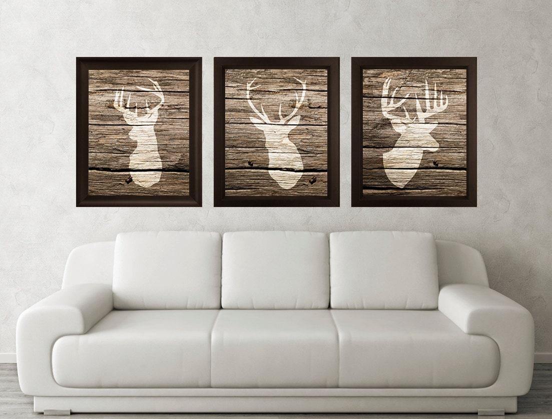 antler stag deer print set of 3 wood texture minimalist