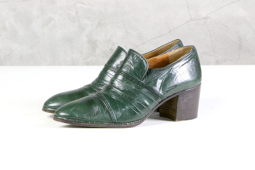 mens high heeled dress shoes 70 s green leather by