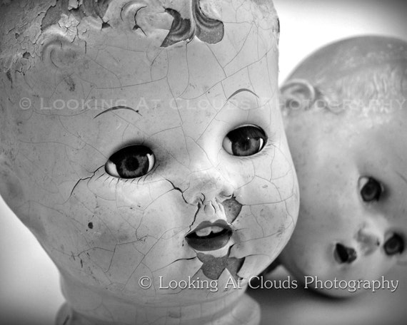 two doll heads, SALE vintage black and white doll head art photo, cracked faces and staring doll eyes, creepy or cute antique dolls