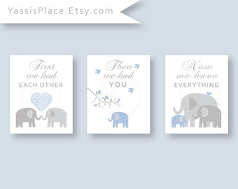 Blue and Gray CANVAS Art, Elephant Nursery Decor, Baby boy Decor, Kids Wall Art, Baby Gift, First we had each other set of 3 by YassisPlace