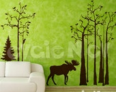 Moose Wall Decals - Trees Wall Decals and Wall Sticker - TRSD020
