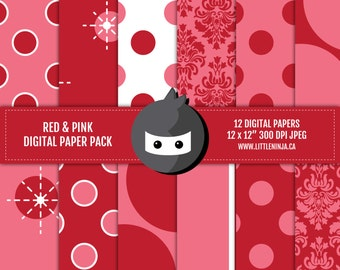 """INSTANT DOWNLOAD // Red and Pink Digital Paper Pack // 300 dpi, jpeg, 12x12"""""""
