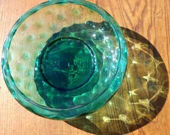 Victorian Aqua Thumbprint Large Vessel Or Jar Great Shape