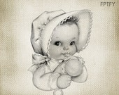 Baby Image Cute Vintage Baby LARGE Digital Vintage Image Download Sheet Transfer To Totes Pillows Tea Towels T-Shirts 272