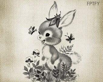 Vintage  Bunny LARGE Digital Vintage Image Download Sheet Transfer To Totes Pillows Tea Towels T-Shirts - 274