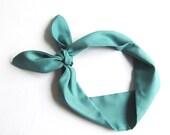 Jade Green Cotton headscarf .. Chic Headband , Green Tie for women girls