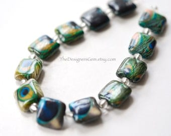 Unique Decoupage Peacock Feather Print Square Shape Beads 13mm - FULL STRAND