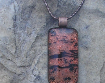 Black and Copper Necklace Dichroic Fused Glass Copper Pendant