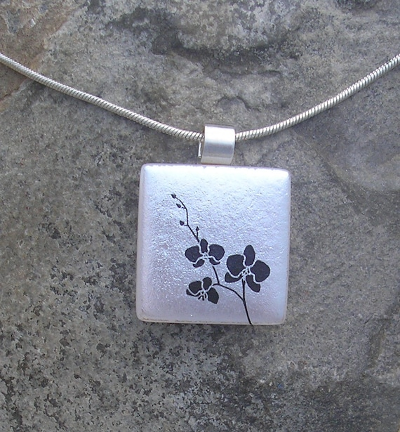 Silver Orchids Necklace Dichroic Fused Glass Orchid Pendant