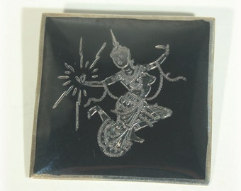 Siam Sterling Brooch, Square Brooch, Siam Sterling, Siam Brooch, Dancing Goddess, Siam Sterling Jewelry, Sterling Niello Pin