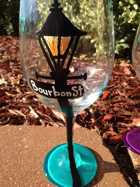 Bourbon Street new orleans lamp post street signs Painted Glasses Dishwasher safe Painted Wineglass New Orleans Louisiana