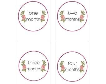 Monthly Milestone Stickers Custom Floral Motif Gender Neutral
