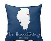 Monogram State Pillow Cover, Personalized Pillow , engagement gift, wedding shower, housewarming gift, new couple gift