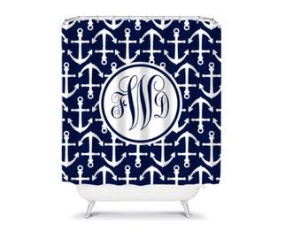 Personalized Shower Curtain, Monogram Shower Curtain, Monogrammed Nautical bathroom Shower Curtain, Bathroom Decor, Design your Own