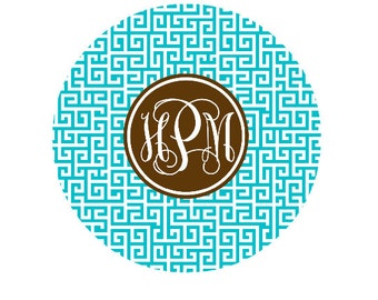 Personalized Round Mousepad Monogram Mousepad- Custom Mousepad- Pick Pattern & Colors