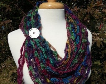Soft Cozy Infinity Cowl, Shades of Burgundy Wine Purple Blue Green Shell Button Tie