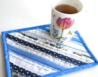 Blue Mug Rug, Cotton Coaster, Cottage Chic Decor, Upcycled Placemat, Table Protector, Mini Quilt, Shade of Blue