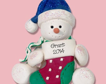 Sitting Snowman with Stocking HANDMADE POLYMER CLAY Personalized Christmas Ornament