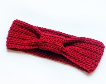 Bow Knotted Headband, Turban Headband, Ear Warmer, Wrap in Color Red for Women