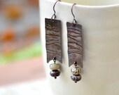 Long copper earrings - artisan earrings - copper jasper earrings - handmade jewelry - brown dangle earrings by Alery