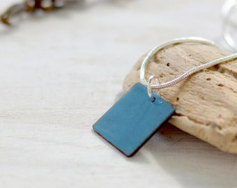 Blue enamel pendant - small dainty necklace square - minimalist copper and sterling silver - artisan jewelry by Alery